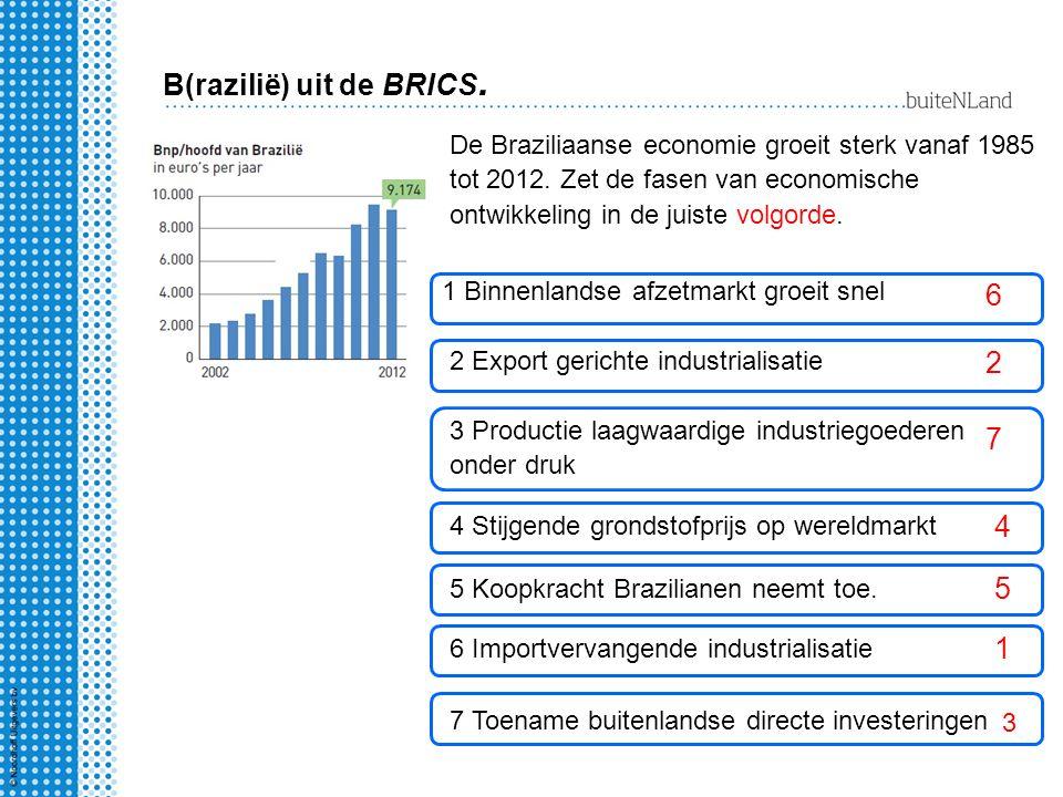 B(razilië) uit de BRICS. De Braziliaanse economie groeit sterk vanaf 1985 tot 2012. Zet de fasen van economische ontwikkeling in de juiste volgorde. 1