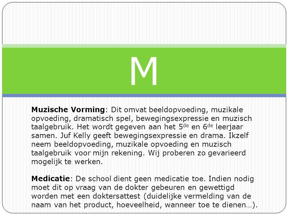M Muzische Vorming: Dit omvat beeldopvoeding, muzikale opvoeding, dramatisch spel, bewegingsexpressie en muzisch taalgebruik.