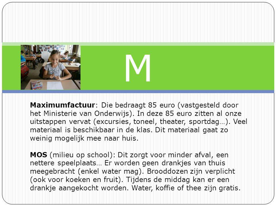 M Maximumfactuur: Die bedraagt 85 euro (vastgesteld door het Ministerie van Onderwijs).