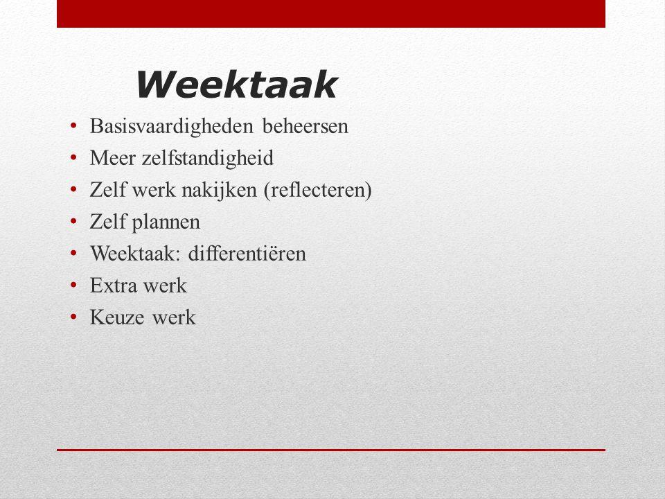 Weektaak Basisvaardigheden beheersen Meer zelfstandigheid Zelf werk nakijken (reflecteren) Zelf plannen Weektaak: differentiëren Extra werk Keuze werk