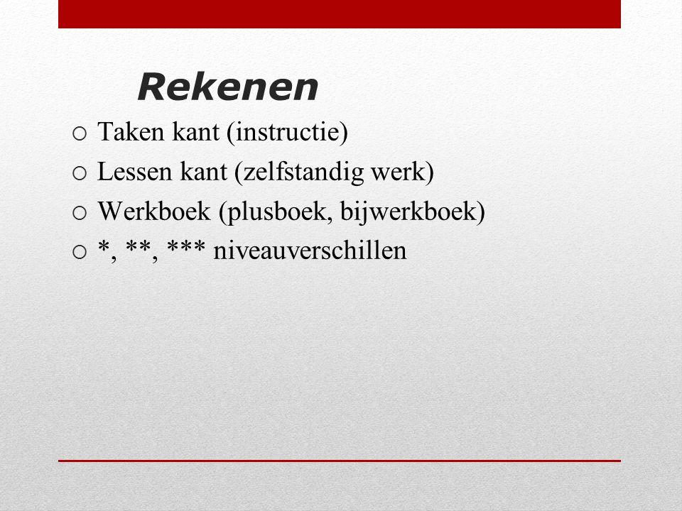 Rekenen  Taken kant (instructie)  Lessen kant (zelfstandig werk)  Werkboek (plusboek, bijwerkboek)  *, **, *** niveauverschillen