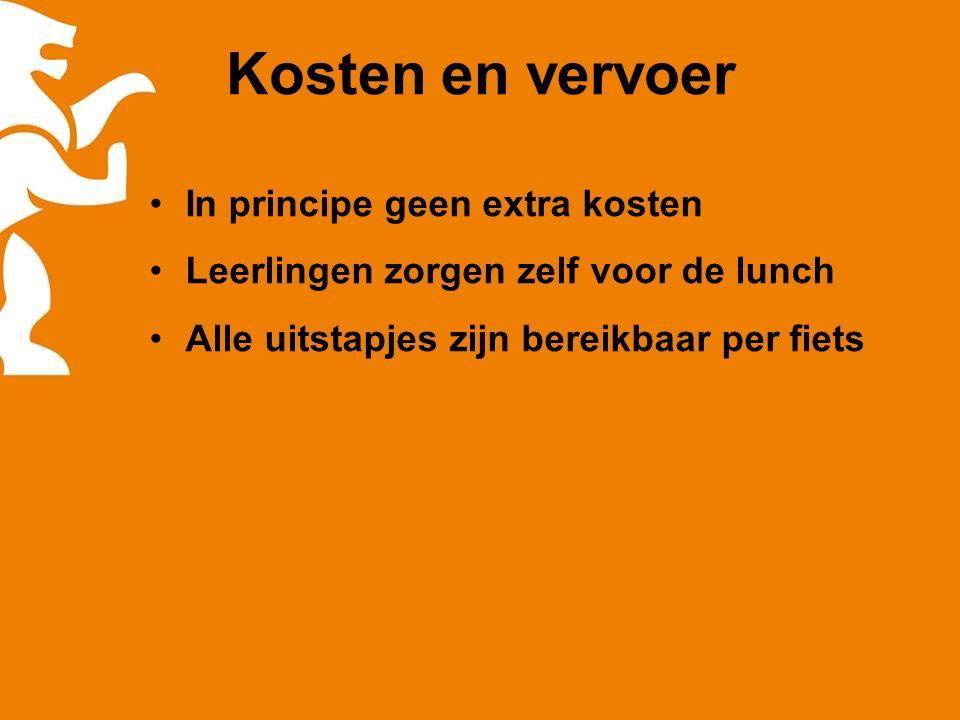 Kosten en vervoer In principe geen extra kosten Leerlingen zorgen zelf voor de lunch Alle uitstapjes zijn bereikbaar per fiets