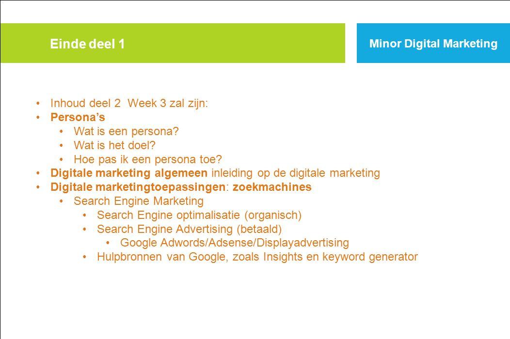 Einde deel 1 Minor Digital Marketing Inhoud deel 2 Week 3 zal zijn: Persona's Wat is een persona.