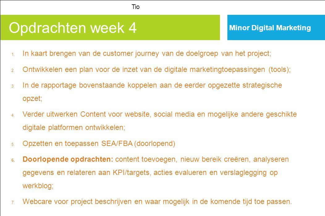 Opdrachten week 4 Tio Minor Digital Marketing 1.