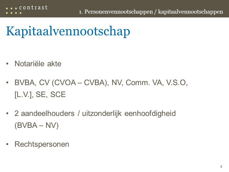 Kapitaalvennootschap Notariële akte BVBA, CV (CVOA – CVBA), NV, Comm.