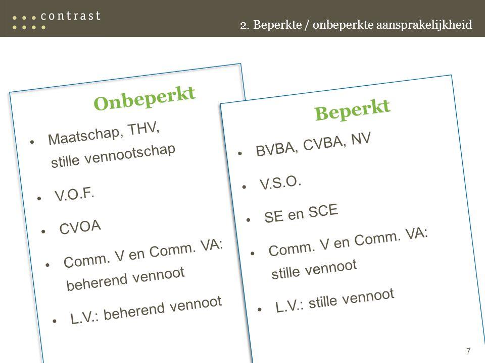 Onbeperkt Maatschap, THV, stille vennootschap V.O.F.