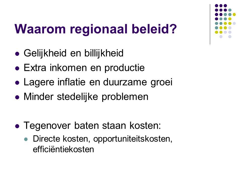 Waarom regionaal beleid? Gelijkheid en billijkheid Extra inkomen en productie Lagere inflatie en duurzame groei Minder stedelijke problemen Tegenover