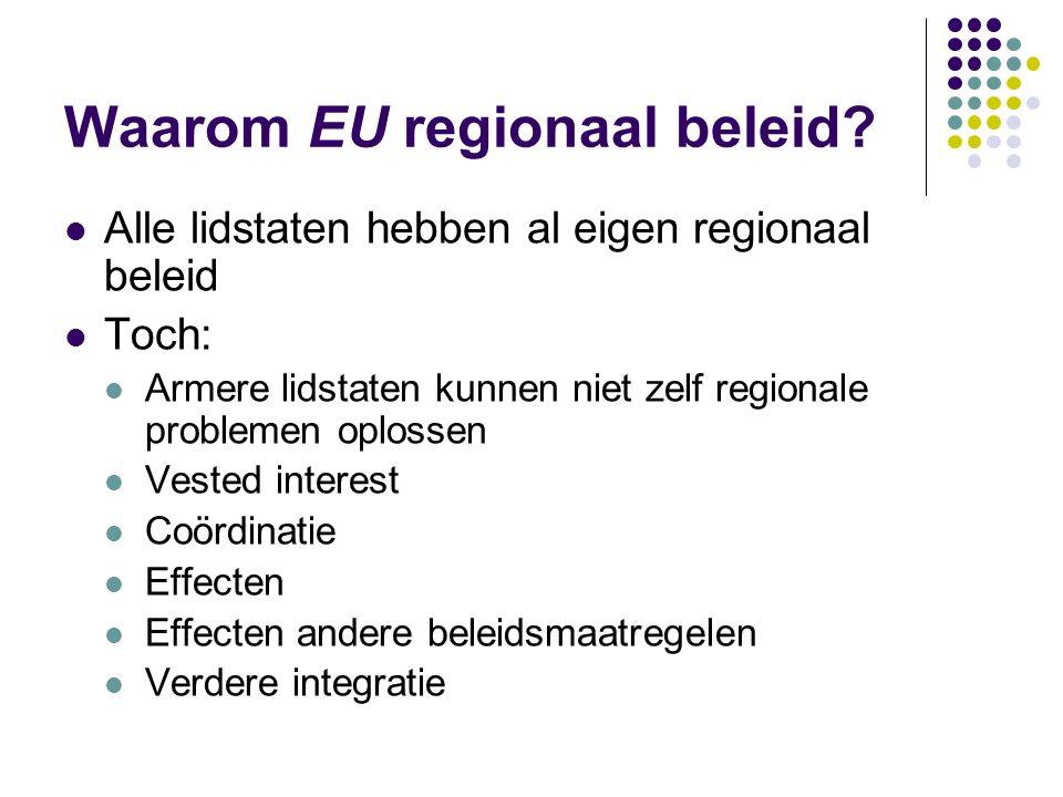 Waarom EU regionaal beleid? Alle lidstaten hebben al eigen regionaal beleid Toch: Armere lidstaten kunnen niet zelf regionale problemen oplossen Veste