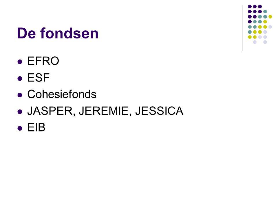 De fondsen EFRO ESF Cohesiefonds JASPER, JEREMIE, JESSICA EIB