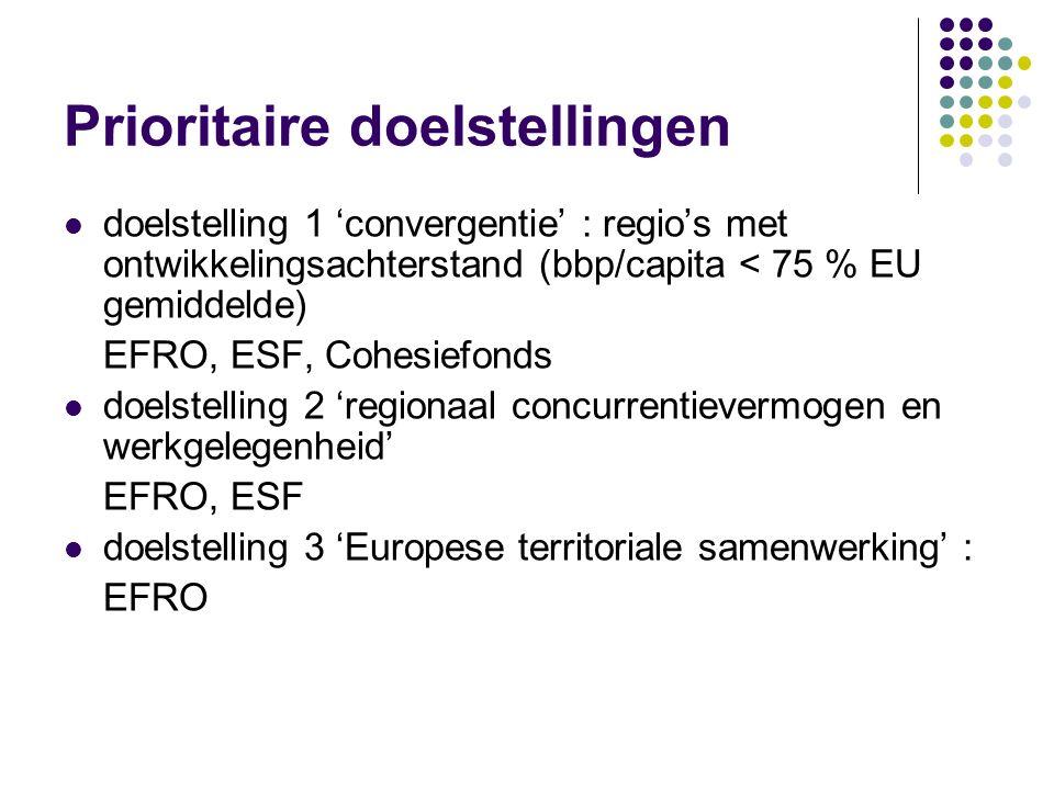 Prioritaire doelstellingen doelstelling 1 'convergentie' : regio's met ontwikkelingsachterstand (bbp/capita < 75 % EU gemiddelde) EFRO, ESF, Cohesiefo