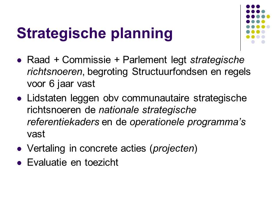 Strategische planning Raad + Commissie + Parlement legt strategische richtsnoeren, begroting Structuurfondsen en regels voor 6 jaar vast Lidstaten leg