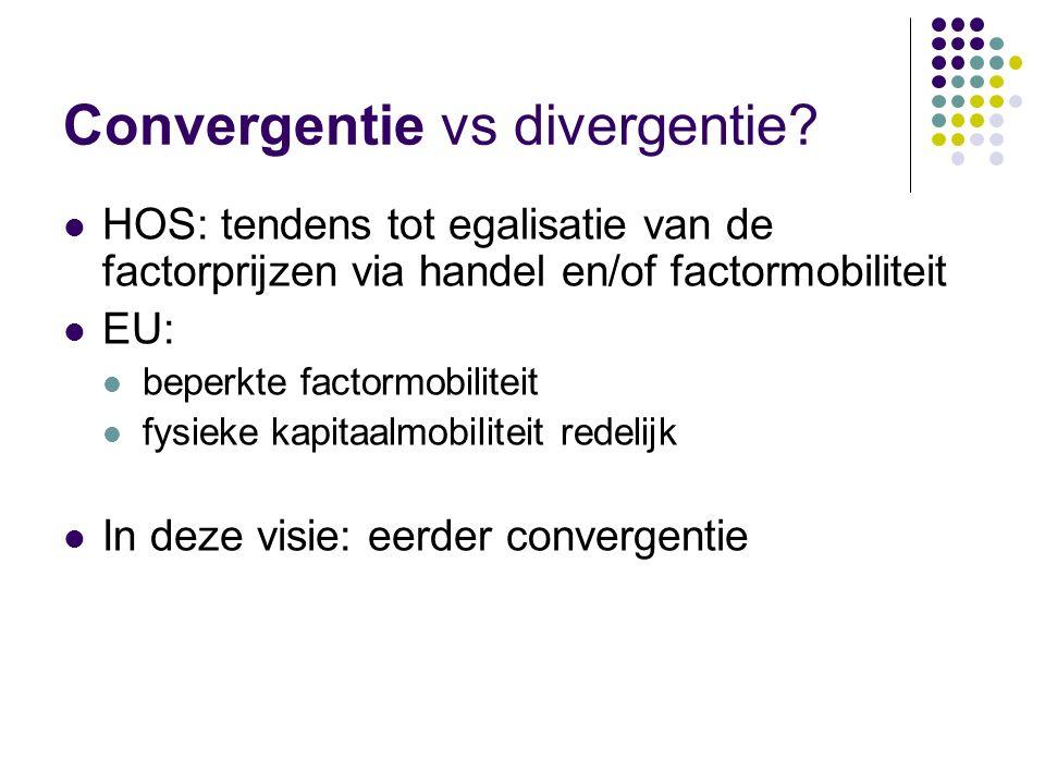 Convergentie vs divergentie? HOS: tendens tot egalisatie van de factorprijzen via handel en/of factormobiliteit EU: beperkte factormobiliteit fysieke
