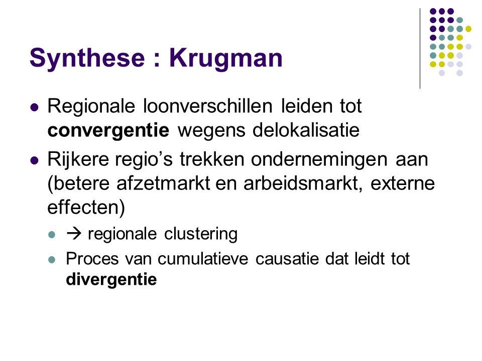 Synthese : Krugman Regionale loonverschillen leiden tot convergentie wegens delokalisatie Rijkere regio's trekken ondernemingen aan (betere afzetmarkt