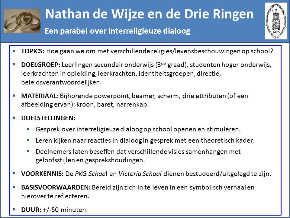 Nathan de Wijze en de Drie Ringen Stappenplan  Vooraf: De achtergrond van de parabel wordt aangereikt als kader.