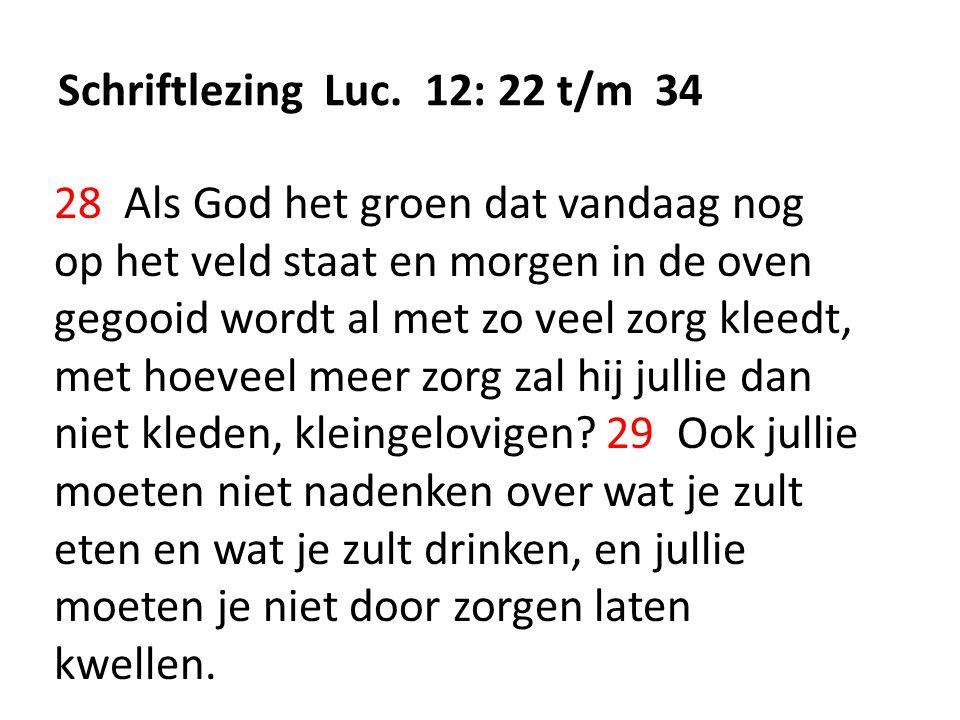 Schriftlezing Luc. 12: 22 t/m 34 28 Als God het groen dat vandaag nog op het veld staat en morgen in de oven gegooid wordt al met zo veel zorg kleedt,