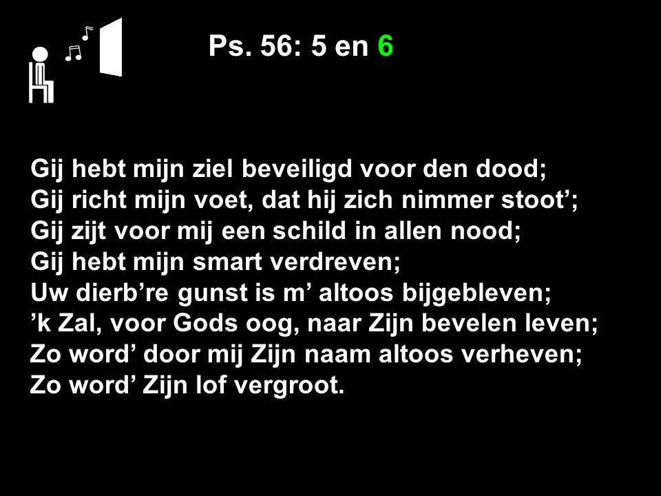 Ps. 56: 5 en 6 Gij hebt mijn ziel beveiligd voor den dood; Gij richt mijn voet, dat hij zich nimmer stoot'; Gij zijt voor mij een schild in allen nood