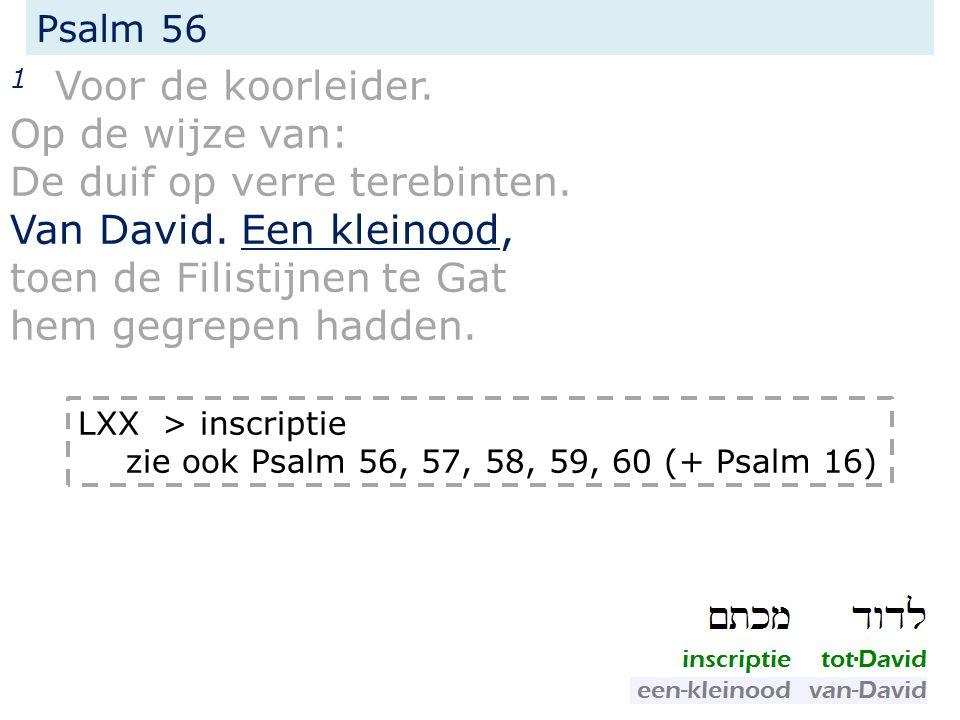 Psalm 56 1... Van David. Een inscriptie, toen de Filistijnen te Gat hem gegrepen hadden.