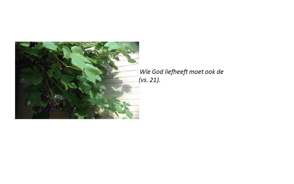 Wie God liefheeft moet ook de ander liefhebben (vs. 21).