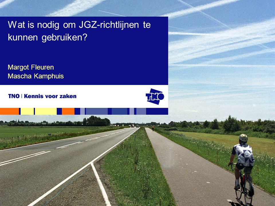 TNO Kwaliteit van Leven, 13 november 2008Wat is nodig om JGZ-richtlijnen te kunnen gebruiken?2 Welke stappen zijn essentieel voor goede implementatie.