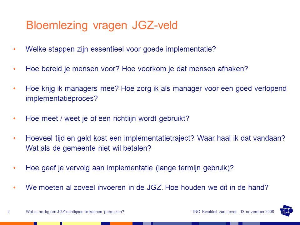 TNO Kwaliteit van Leven, 13 november 2008Wat is nodig om JGZ-richtlijnen te kunnen gebruiken?2 Welke stappen zijn essentieel voor goede implementatie?