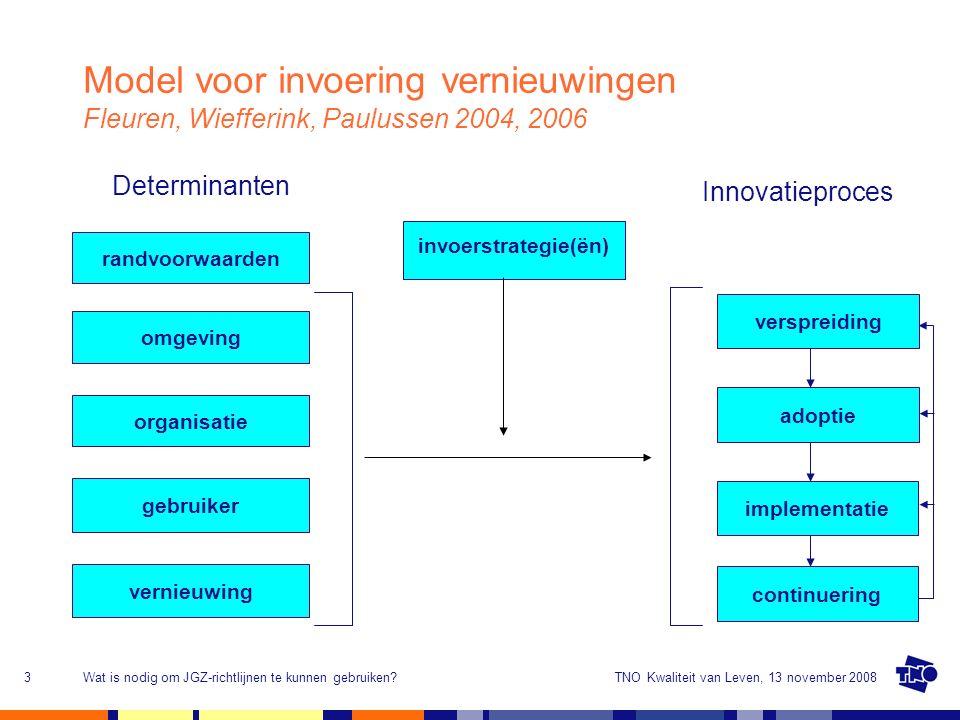 TNO Kwaliteit van Leven, 13 november 2008Wat is nodig om JGZ-richtlijnen te kunnen gebruiken?4 Proefimplementatie Bijstellen vernieuwing (bijv.