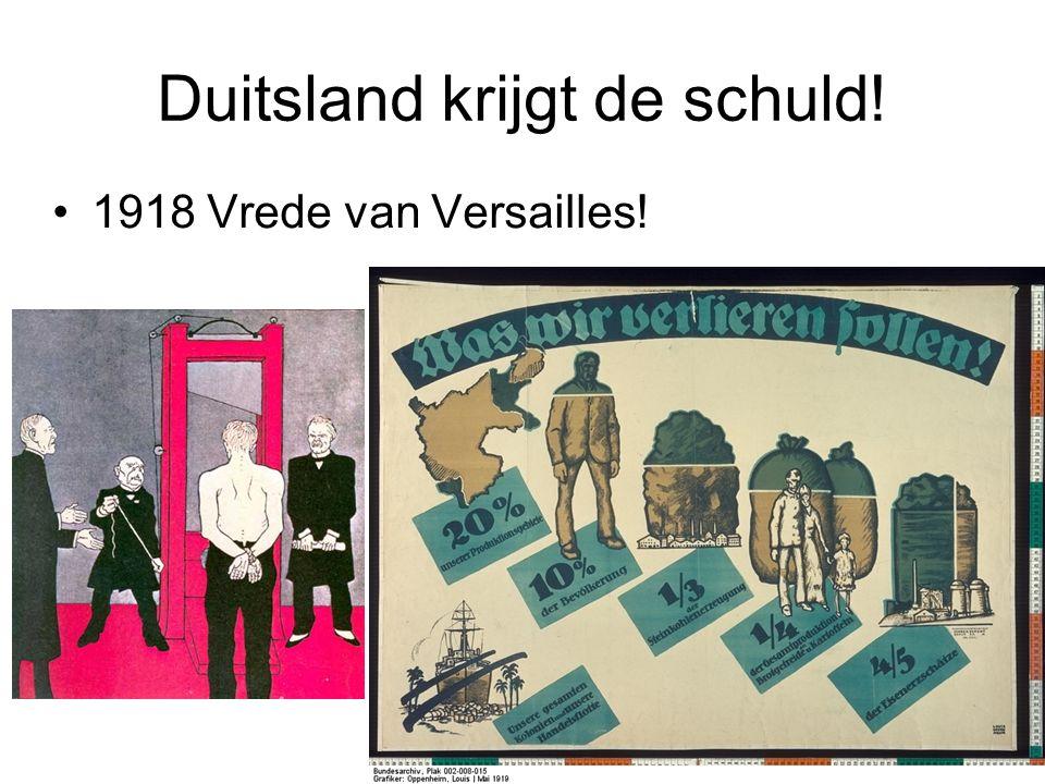 © Stef van der Velden 2011 Duitsland krijgt de schuld! 1918 Vrede van Versailles!