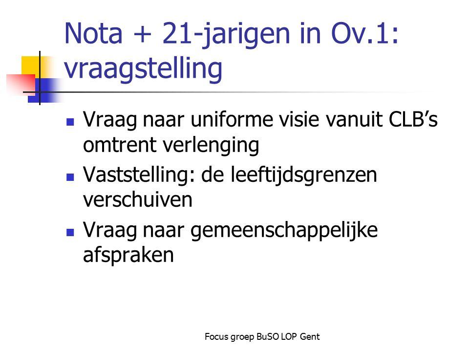 Focus groep BuSO LOP Gent Nota + 21-jarigen in Ov.1: vraagstelling Vraag naar uniforme visie vanuit CLB's omtrent verlenging Vaststelling: de leeftijd