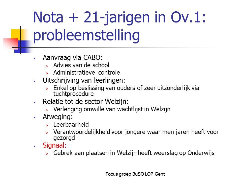 Focus groep BuSO LOP Gent Nota + 21-jarigen in Ov.1: probleemstelling  Aanvraag via CABO:  Advies van de school  Administratieve controle  Uitschr