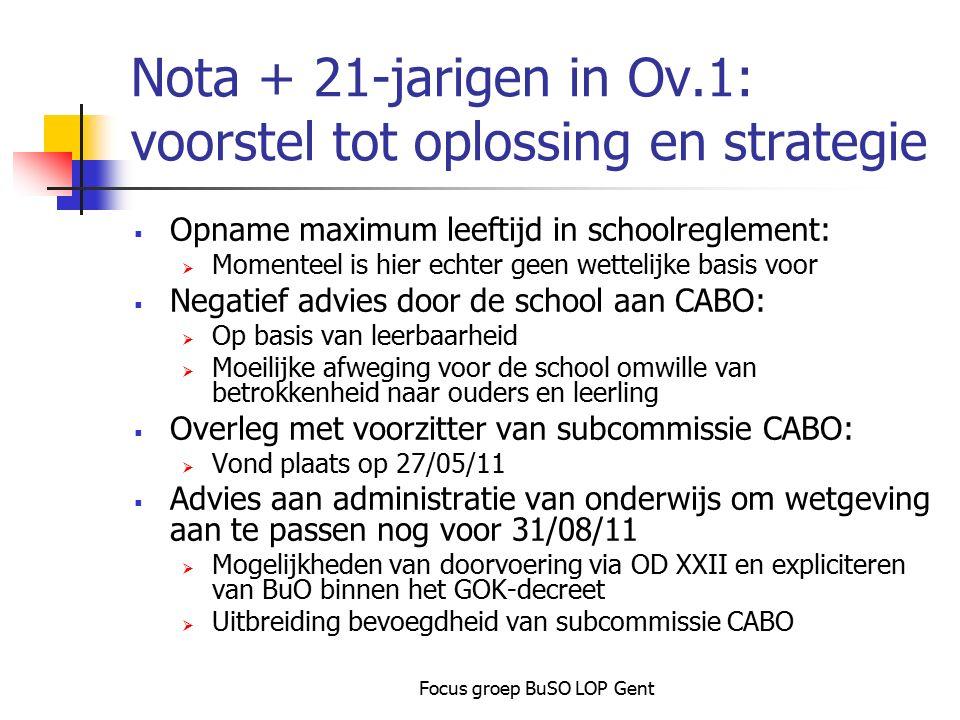 Focus groep BuSO LOP Gent Nota + 21-jarigen in Ov.1: voorstel tot oplossing en strategie  Opname maximum leeftijd in schoolreglement:  Momenteel is