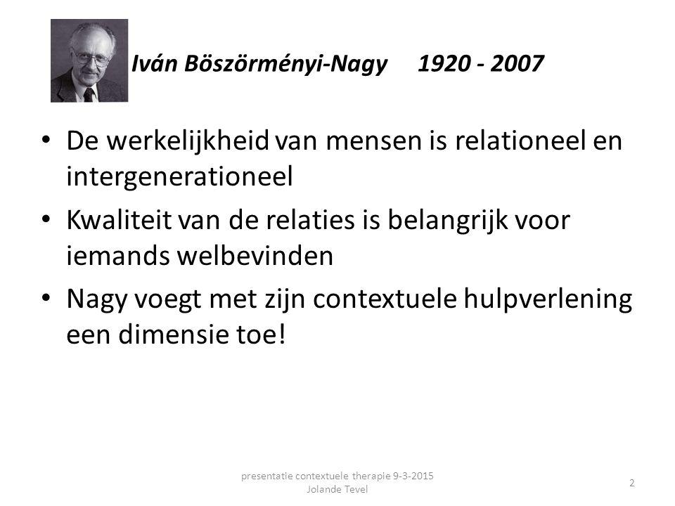 Iván Böszörményi-Nagy 1920 - 2007 De werkelijkheid van mensen is relationeel en intergenerationeel Kwaliteit van de relaties is belangrijk voor iemand