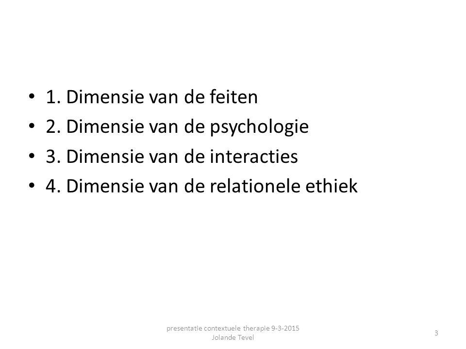 1. Dimensie van de feiten 2. Dimensie van de psychologie 3. Dimensie van de interacties 4. Dimensie van de relationele ethiek presentatie contextuele