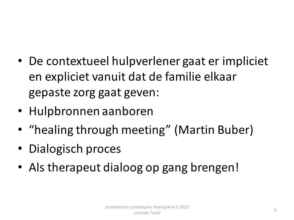 """De contextueel hulpverlener gaat er impliciet en expliciet vanuit dat de familie elkaar gepaste zorg gaat geven: Hulpbronnen aanboren """"healing through"""