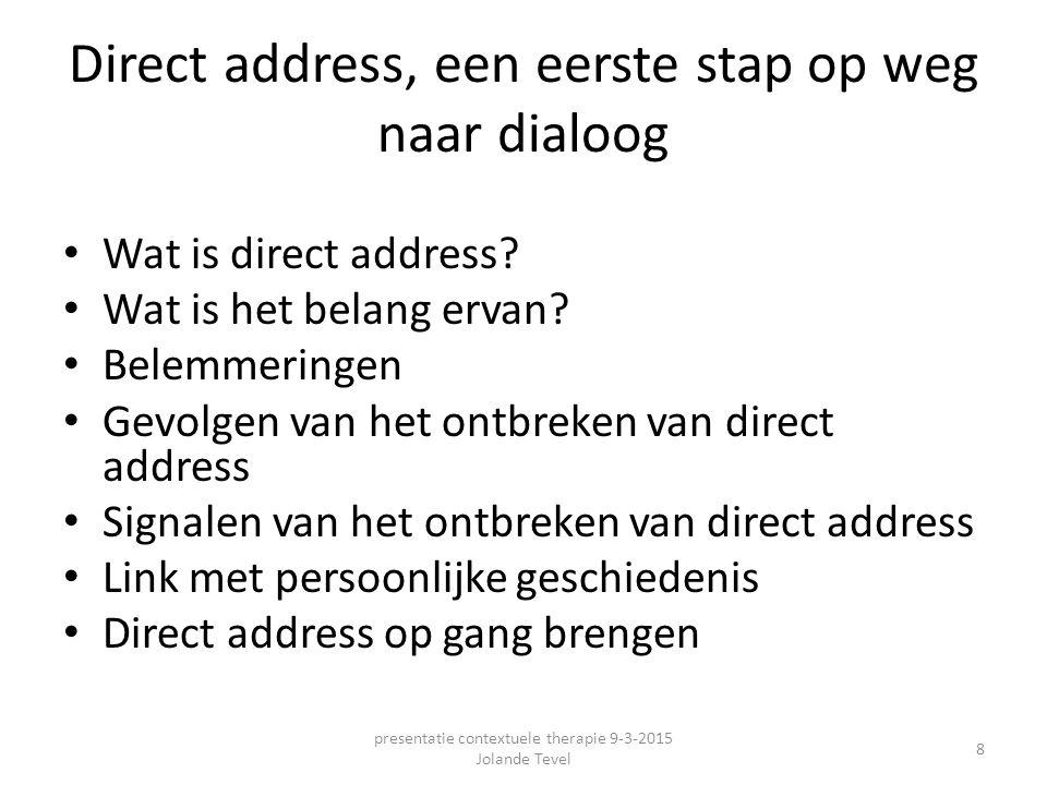 Direct address, een eerste stap op weg naar dialoog Wat is direct address? Wat is het belang ervan? Belemmeringen Gevolgen van het ontbreken van direc