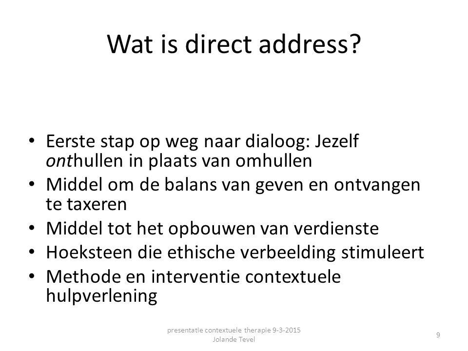 Het belang van direct address Rechtstreeks spreken is van groot belang voor het opbouwen en in stand houden van betrouwbare, rechtvaardige en vitale relaties presentatie contextuele therapie 9-3-2015 Jolande Tevel 10