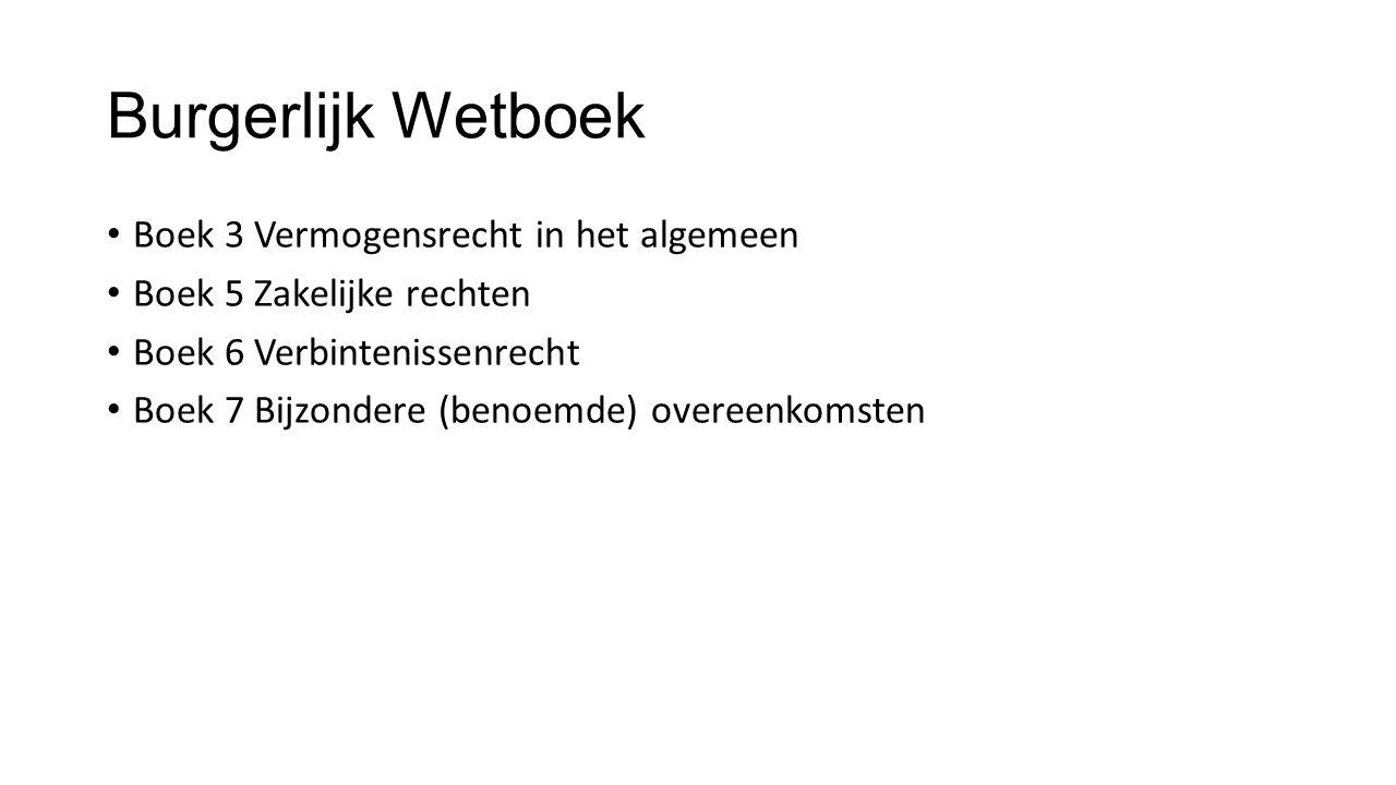 Burgerlijk Wetboek Boek 3 Vermogensrecht in het algemeen Boek 5 Zakelijke rechten Boek 6 Verbintenissenrecht Boek 7 Bijzondere (benoemde) overeenkomst