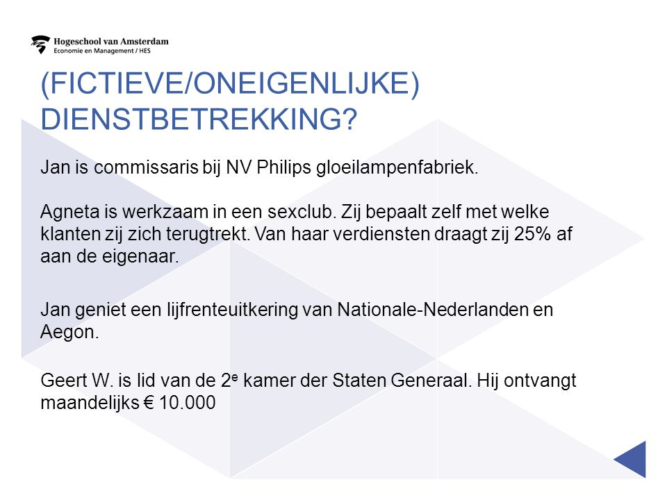 UITWERKING Jan commissariaat Philips: fictieve dienstbetrekking o.g.v.