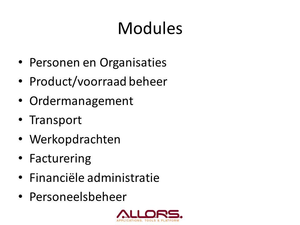 Modules Personen en Organisaties Product/voorraad beheer Ordermanagement Transport Werkopdrachten Facturering Financiële administratie Personeelsbehee