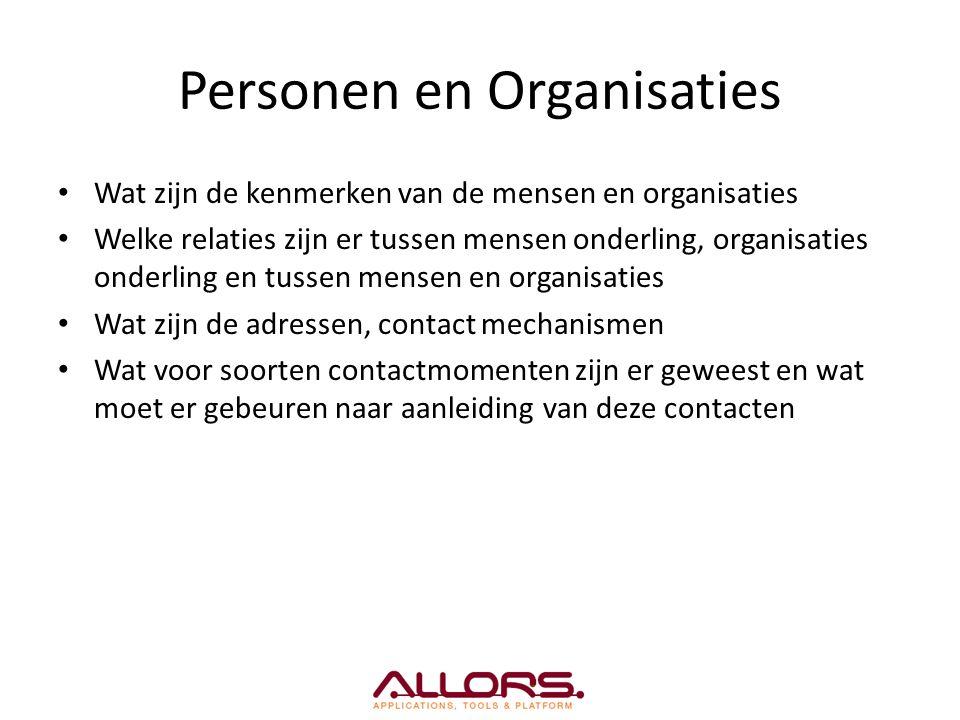 Personen en Organisaties Wat zijn de kenmerken van de mensen en organisaties Welke relaties zijn er tussen mensen onderling, organisaties onderling en