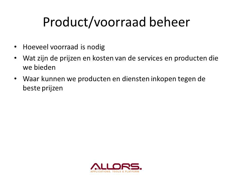 Product/voorraad beheer Hoeveel voorraad is nodig Wat zijn de prijzen en kosten van de services en producten die we bieden Waar kunnen we producten en diensten inkopen tegen de beste prijzen