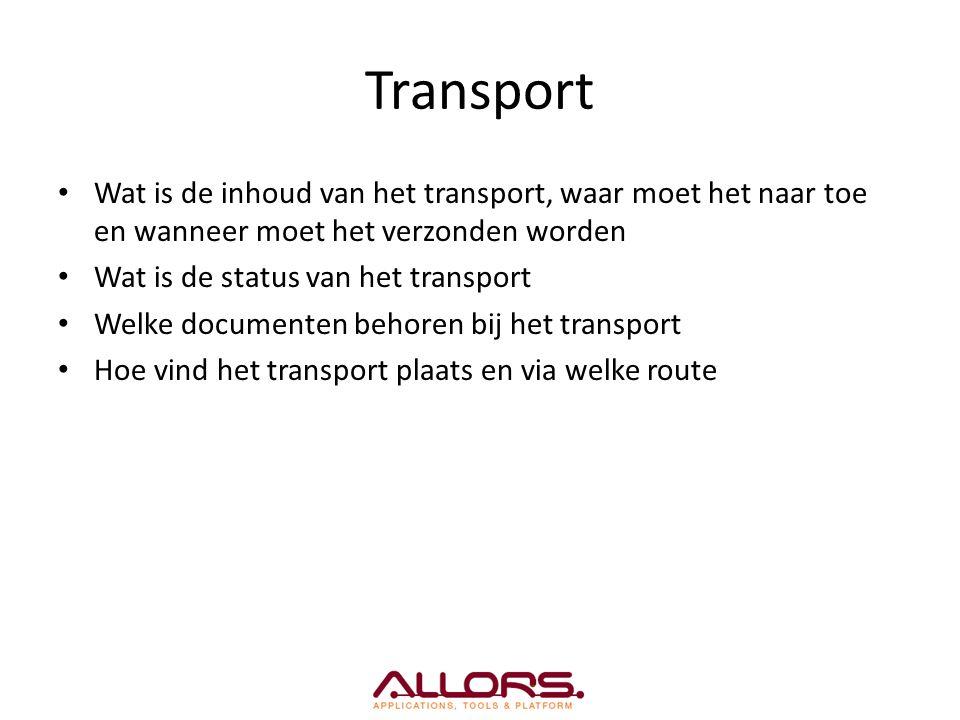 Transport Wat is de inhoud van het transport, waar moet het naar toe en wanneer moet het verzonden worden Wat is de status van het transport Welke documenten behoren bij het transport Hoe vind het transport plaats en via welke route
