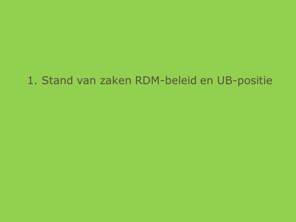 1. Stand van zaken RDM-beleid en UB-positie