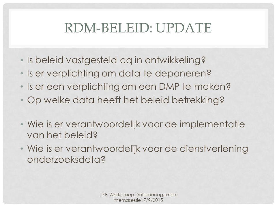 RDM-BELEID: UPDATE Is beleid vastgesteld cq in ontwikkeling.