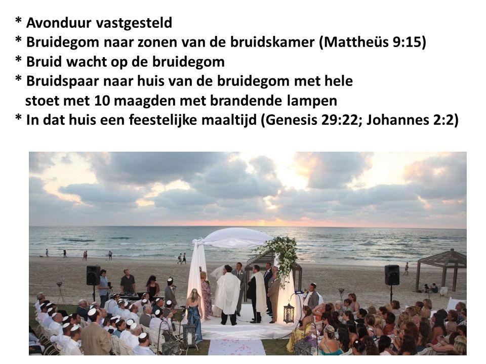 * Avonduur vastgesteld * Bruidegom naar zonen van de bruidskamer (Mattheüs 9:15) * Bruid wacht op de bruidegom * Bruidspaar naar huis van de bruidegom