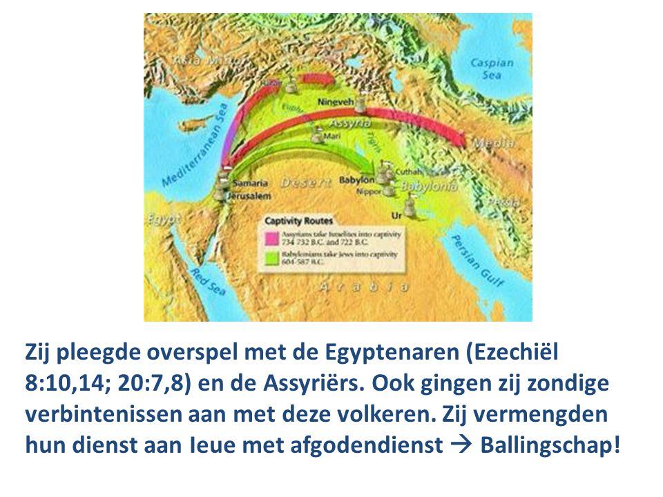 Zij pleegde overspel met de Egyptenaren (Ezechiël 8:10,14; 20:7,8) en de Assyriërs. Ook gingen zij zondige verbintenissen aan met deze volkeren. Zij v