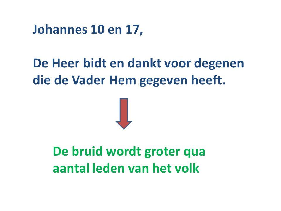 Johannes 10 en 17, De Heer bidt en dankt voor degenen die de Vader Hem gegeven heeft. De bruid wordt groter qua aantal leden van het volk