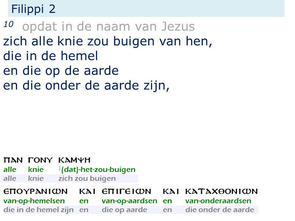 Filippi 2 10 opdat in de naam van Jezus zich alle knie zou buigen van hen, die in de hemel en die op de aarde en die onder de aarde zijn,