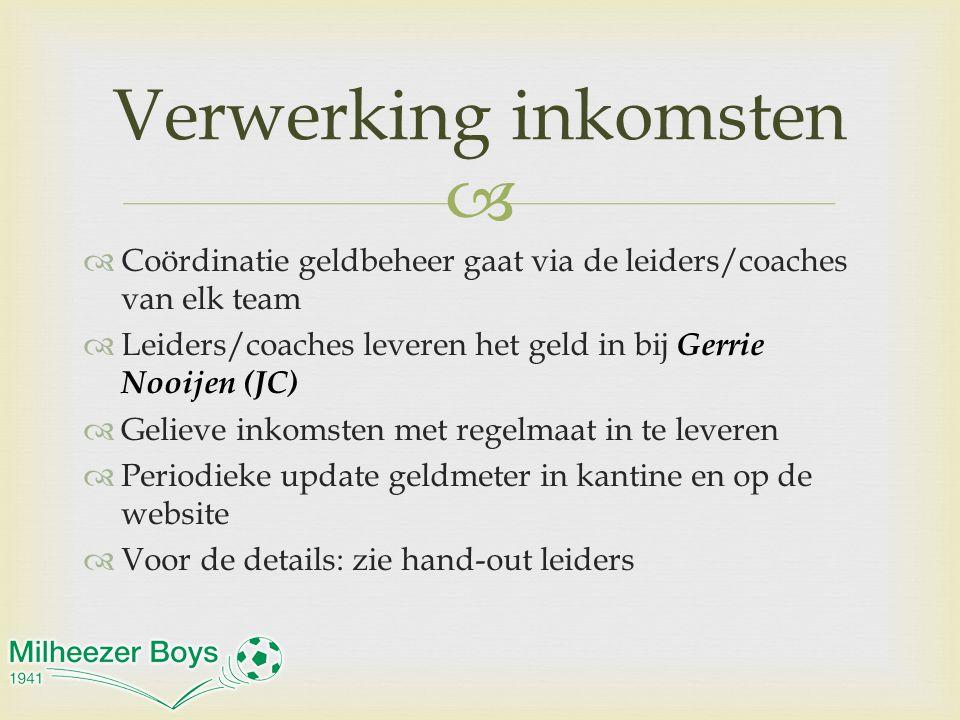   Coördinatie geldbeheer gaat via de leiders/coaches van elk team  Leiders/coaches leveren het geld in bij Gerrie Nooijen (JC)  Gelieve inkomsten