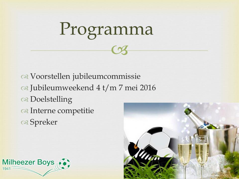   Voorstellen jubileumcommissie  Jubileumweekend 4 t/m 7 mei 2016  Doelstelling  Interne competitie  Spreker Programma
