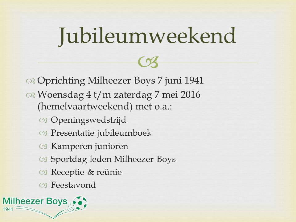   Oprichting Milheezer Boys 7 juni 1941  Woensdag 4 t/m zaterdag 7 mei 2016 (hemelvaartweekend) met o.a.:  Openingswedstrijd  Presentatie jubileu