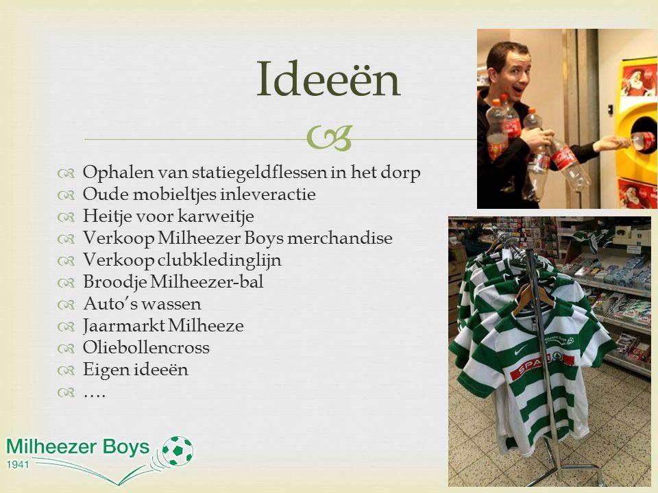   Ophalen van statiegeldflessen in het dorp  Oude mobieltjes inleveractie  Heitje voor karweitje  Verkoop Milheezer Boys merchandise  Verkoop cl